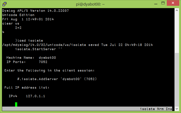 Starting an isolate server using PuTTY to run Dyalog on the robot.