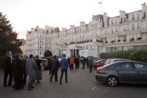 Delegates arrive at The Grand Hotel